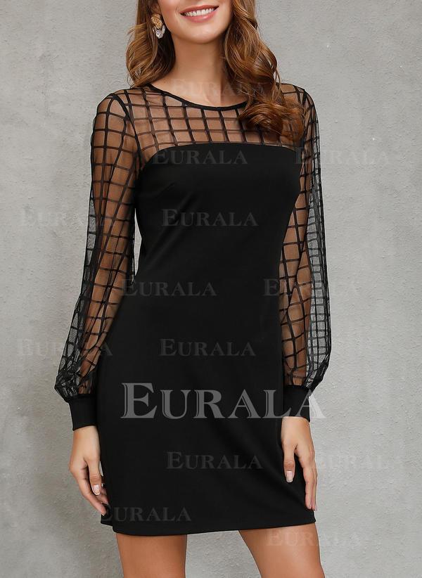 Jednolita Długie rękawy Pokrowiec Nad kolana Mała czarna/Elegancki Sukienki