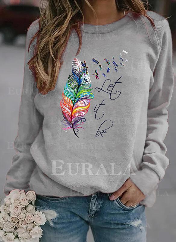 Animal Print Figure Round Neck Long Sleeves Sweatshirt