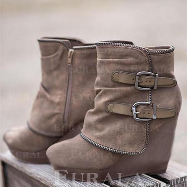Mulheres Camurça Plataforma Botas com Zíper sapatos
