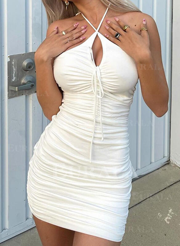 Solid Sleeveless Bodycon Above Knee Sexy/Casual/Party Dresses