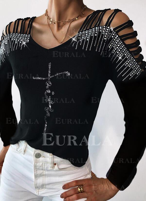 Распечатать Блестки V шеи Длинные рукова Повседневная Вязание Блузы