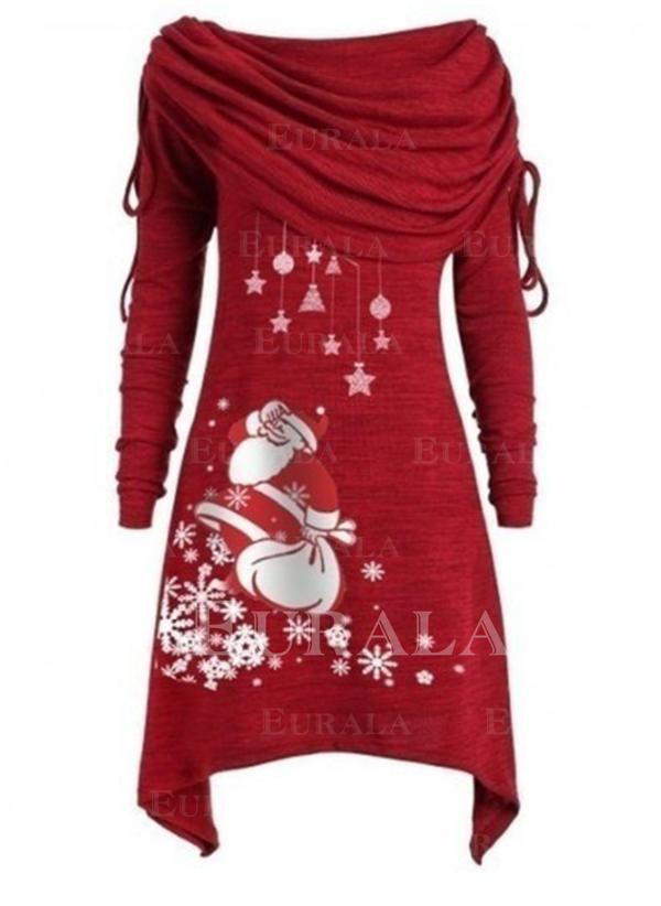 Print Long Sleeves Shift Knee Length Christmas Dresses