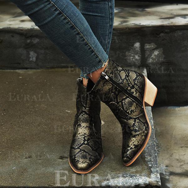 De mujer PU Tacón ancho Botas con Cordones zapatos