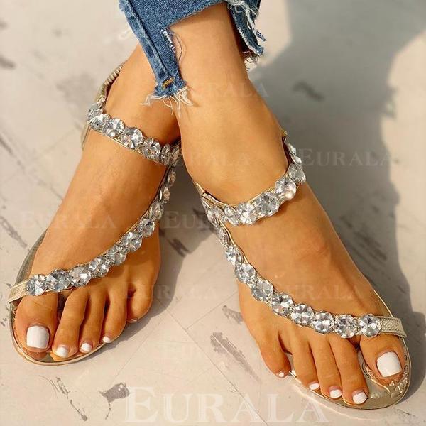 Dla kobiet PU Obcas Koturnowy Sandały Plaskie Otwarty Nosek Buta Pierścień na palec Z Stras/ Krysztal Górski obuwie