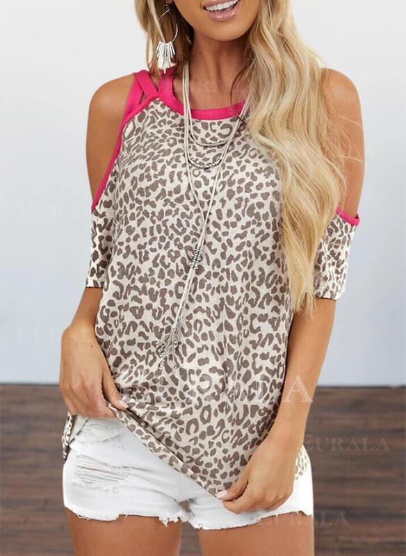 леопард Холодный прием 1/2 рукава Повседневная Блузы