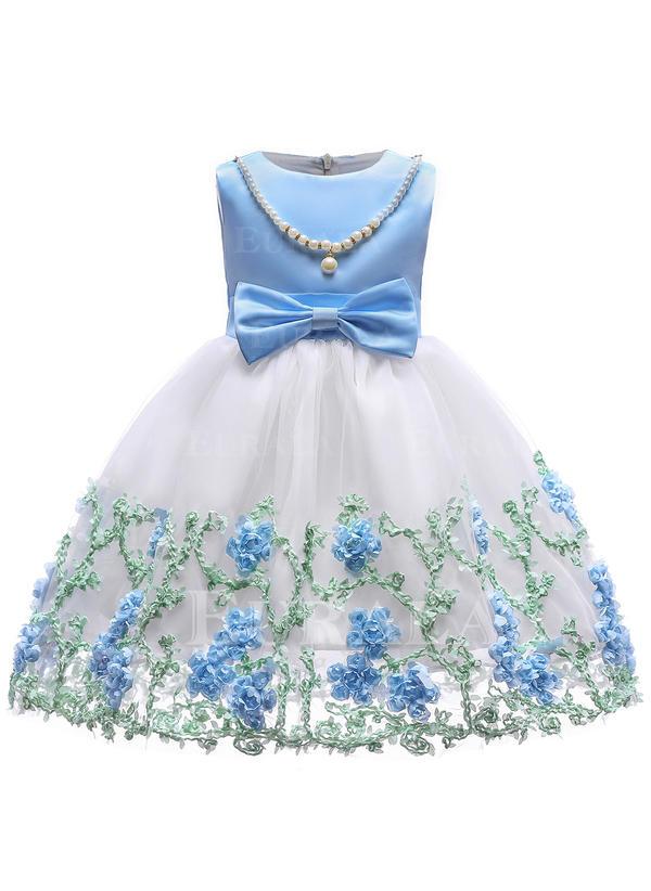 Chicas Cuello redondo Floral Encaje Con lentejuelas Arco Lindo Fiesta Niña de las flores Vestido