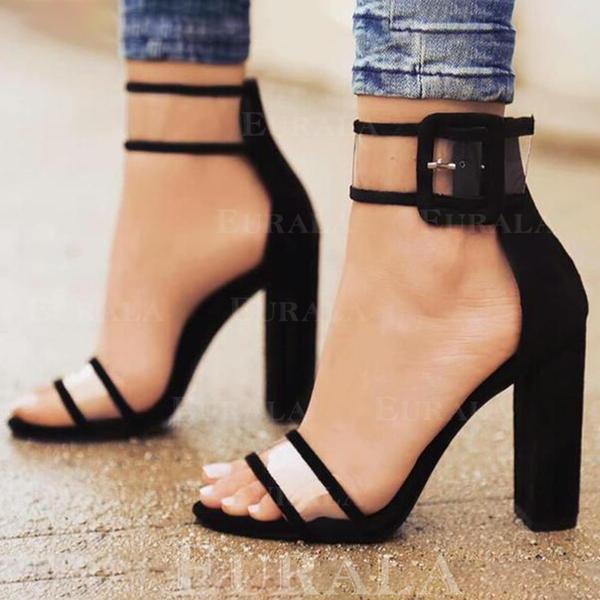 Bayanlar Kumaş Topuklu ayakkabı Sandalet Pompalar topuk Ile Toka ayakkabı
