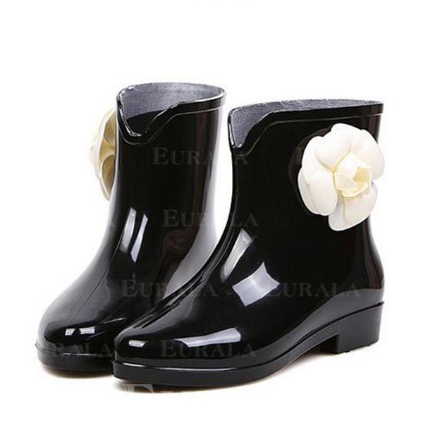 Mulheres PVC Salto baixo Botas Bota no tornozelo Botas de chuva com Flor sapatos