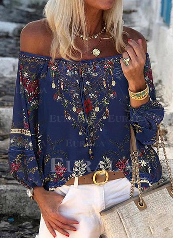 Print Floral Off the Shoulder Long Sleeves Casual Elegant Blouses