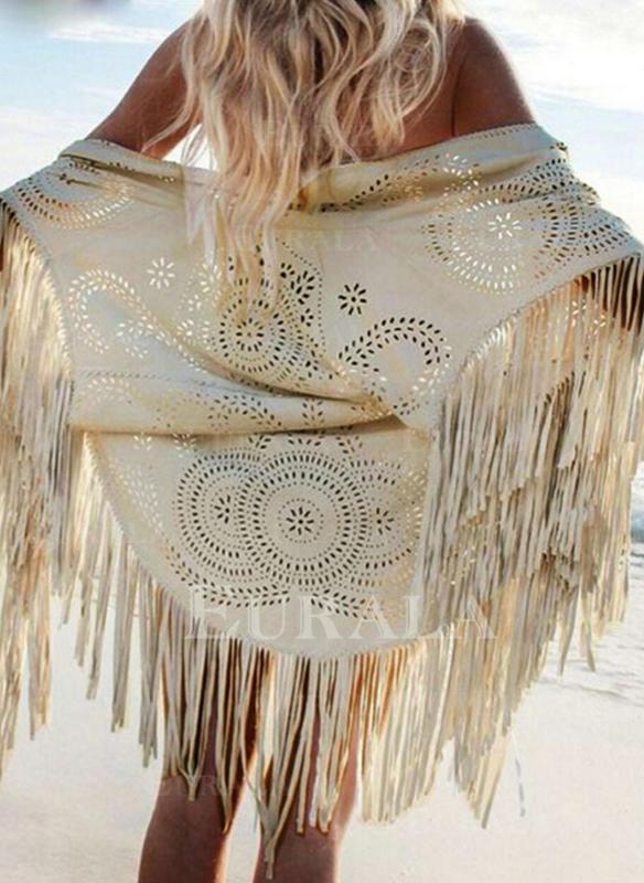 Solid V-ringning Elegant Strandklänningar Badkläder