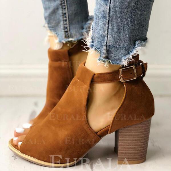 Mulheres Camurça Salto robusto Bota no tornozelo com Fivela sapatos