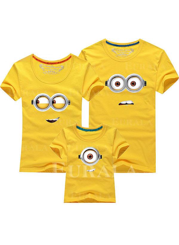 Cartoon Print Familie matchende T-skjorter