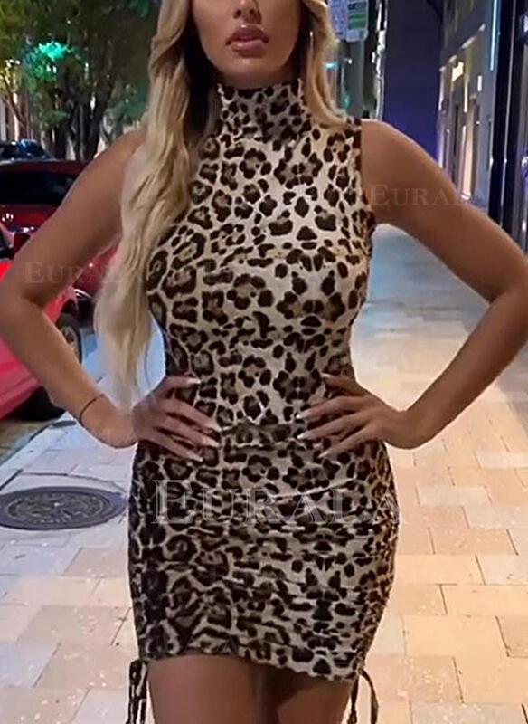 леопард безрукавный Bodycon Выше колена сексуальный/Повседневная Платья