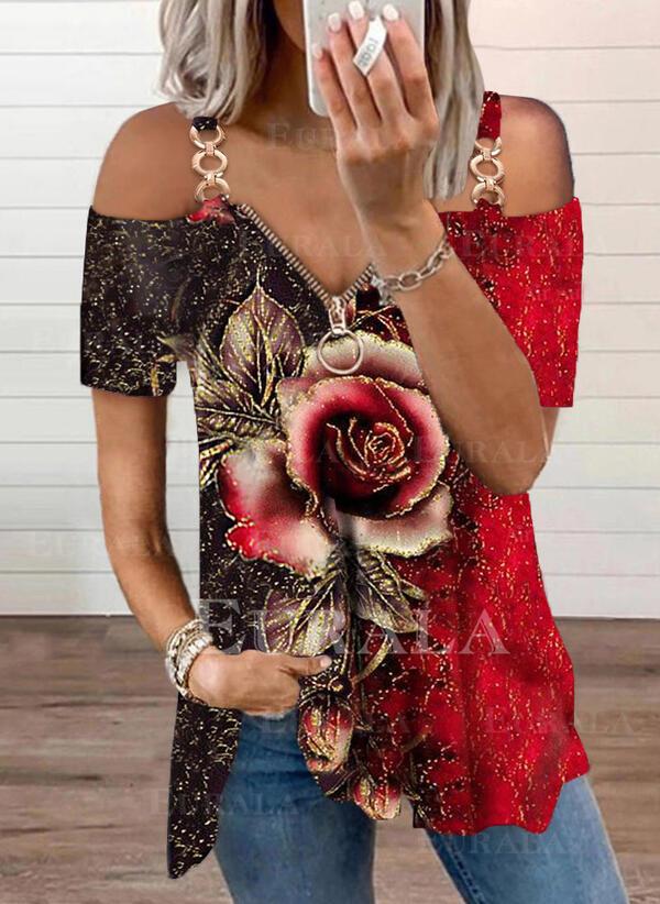 Холодный прием С коротким рукавом Повседневная Блузы