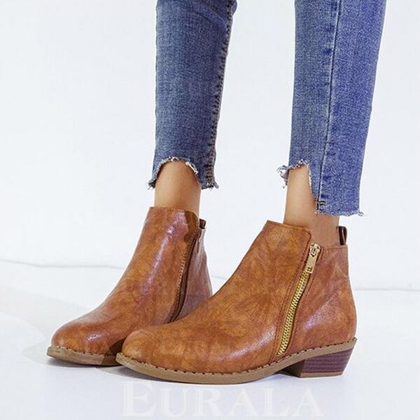 Женский PU Низкий каблук Ботильоны Круглый носок с Молния Сплошной цвет обувь