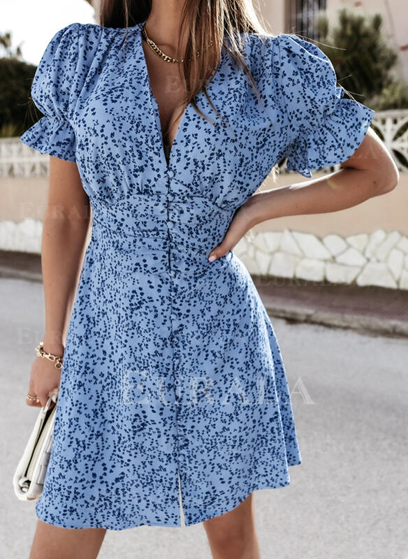 Print/Floral Short Sleeves Sheath Above Knee Casual Dresses