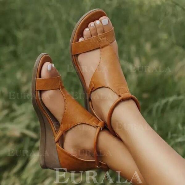 Pentru Femei Imitaţie de Piele Platforme Înalte Sandale Platforme Puţin decupat în faţă cu Cataramă pantofi