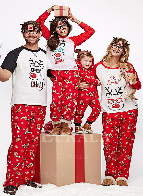Caricatura Impressão Família Combinando Natal Pijama