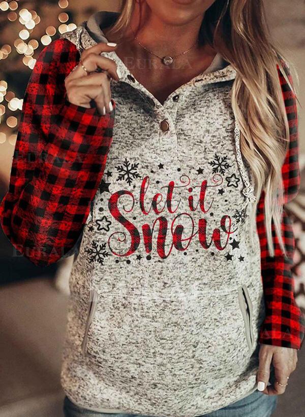 Print Grid Figure Long Sleeves Christmas Sweatshirt