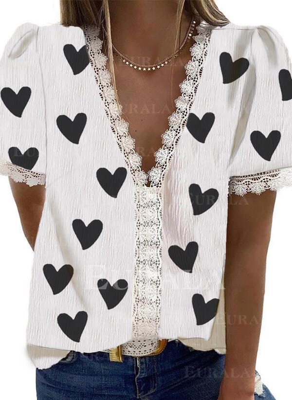 Распечатать кружевной V шеи С коротким рукавом Повседневная Блузы