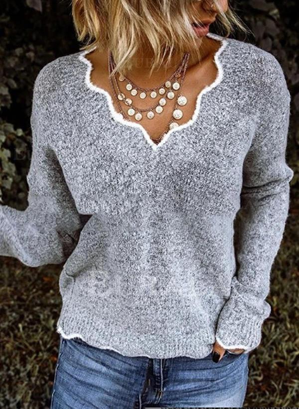Jednolity Masywna dzianina Dekolt w kształcie litery V Casual Swetry