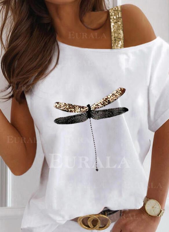 Рисунок животного Блестки Одно плечо С коротким рукавом Повседневная Блузы