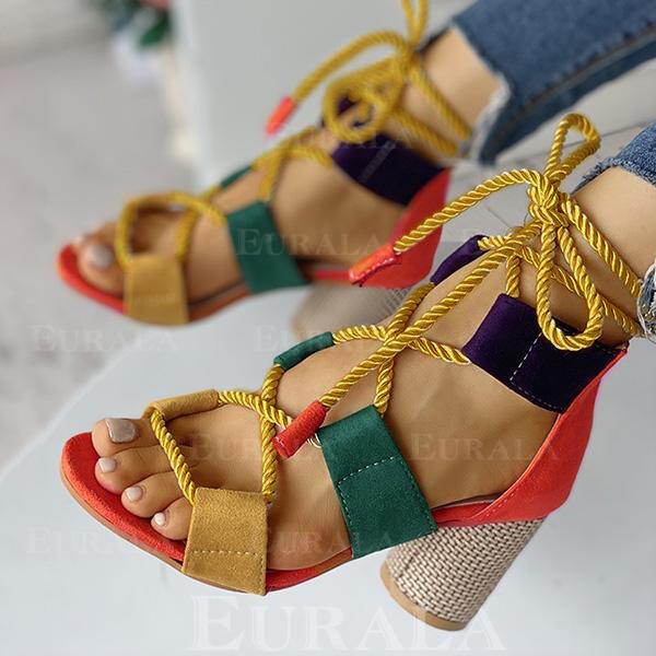 Bayanlar PU Tıknaz Topuk Sandalet Peep Toe Ile Oymak ayakkabı