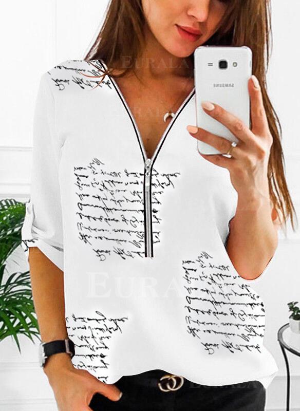 Распечатать V шеи 1/2 рукава Повседневная Блузы