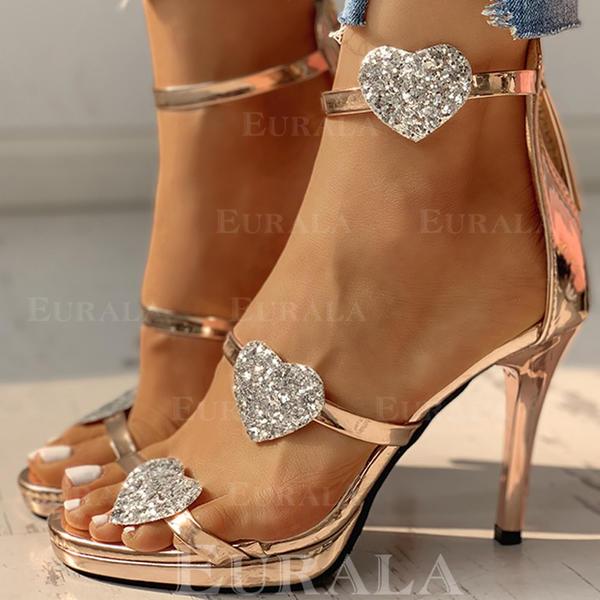 Mulheres PU Salto agulha Sandálias Bombas Peep toe com Strass Espumante Glitter Fivela sapatos