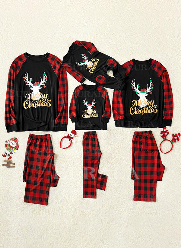 Rena Colorido Xadrez Família Combinando Natal Pijama