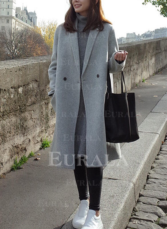 Yün Uzun kollu Sade Yün Palto