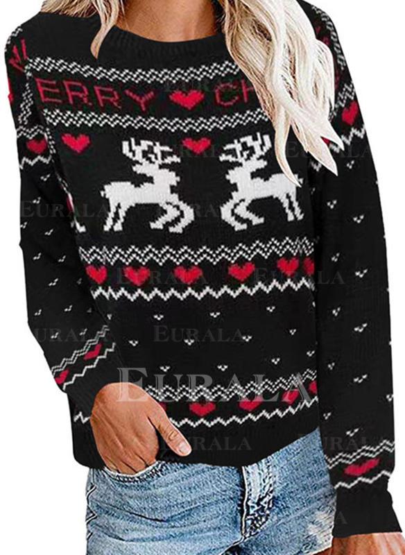 Imprimeu Animal Kalp Guler Rotund Comod Crăciun Pulover urât de Crăciun