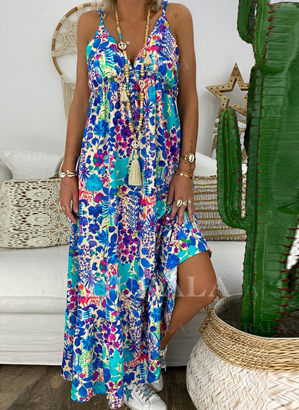 Print/Floral Sleeveless A-line Sexy/Casual/Boho/Vacation Maxi Dresses
