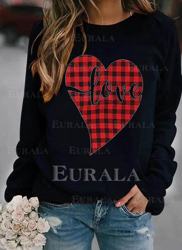 Print Grid Figure Heart Round Neck Long Sleeves Sweatshirt