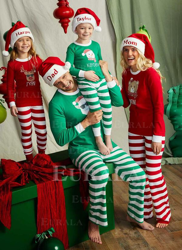 Nisse Reinsdyr Farge-Blokk Bjørn Stripe Familie matchende Jule Pyjamas