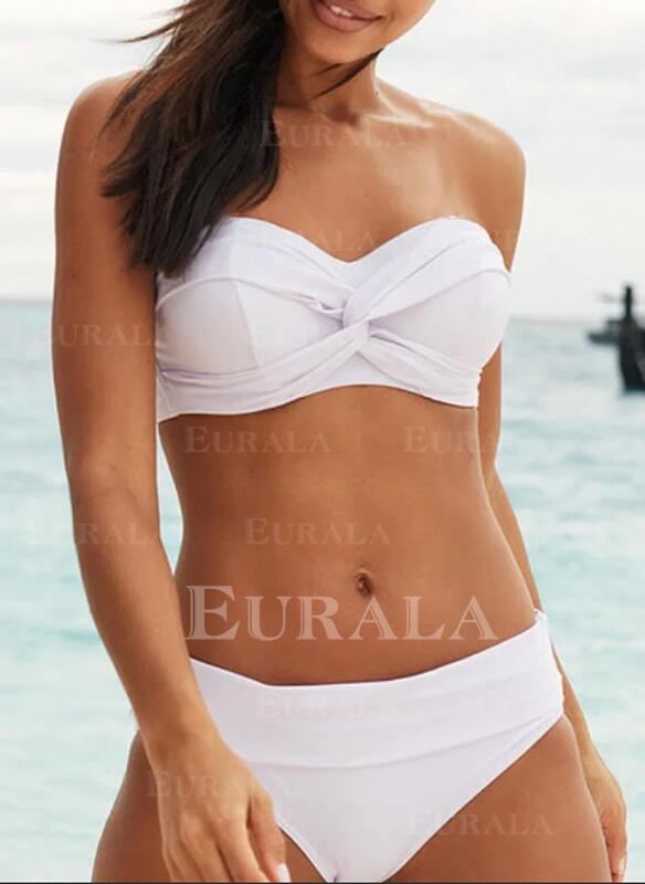 Сплошной цвет V шеи отрывной сексуальный Большой размер Bikinis купальников