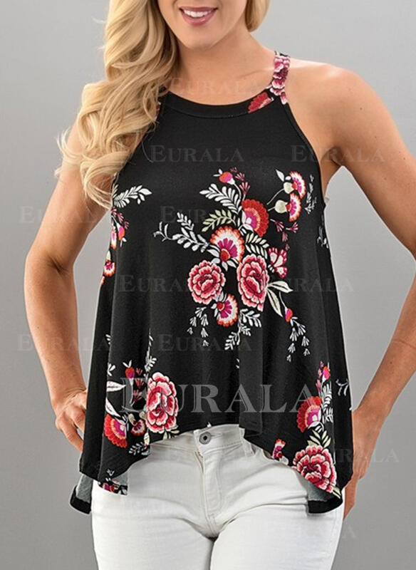 Floral Print Round Neck Sleeveless Tank Tops
