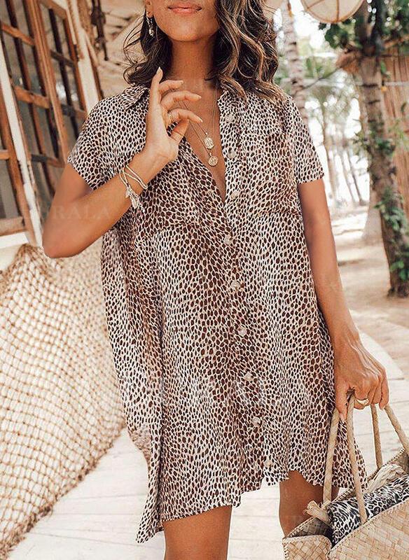 Leopard Krátké rukávy Splývavé Nad kolena Neformální Košile Šaty