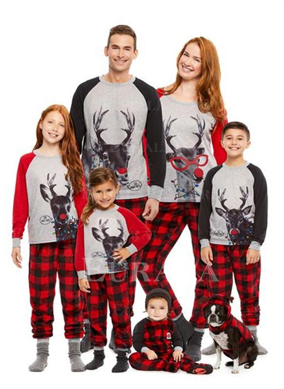 Pläd Print Matchande familj Jul Pyjamas