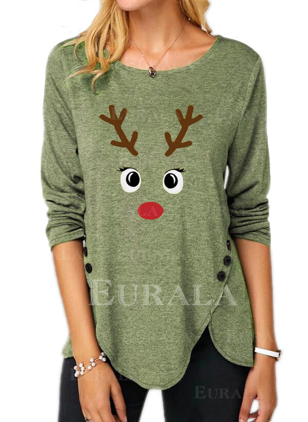 Animal Print Round Neck Long Sleeves Button Up Casual Christmas Blouses