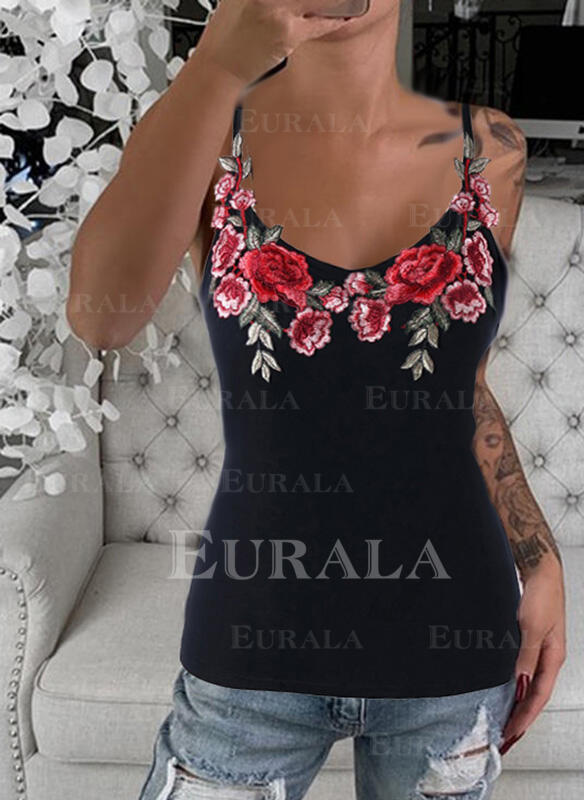 Embroidery Floral Spaghetti Strap Sleeveless Casual Tank Tops