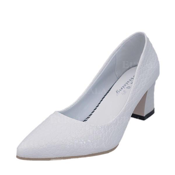 Mulheres Couro Salto robusto Bombas Fechados sapatos