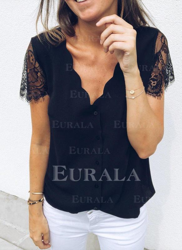 Jednolity Dekolt w kształcie litery V Krótkie rękawy Zapięcie na guzik Casual Elegancki Bluzki