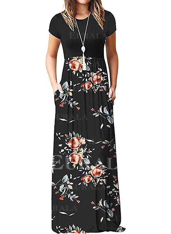 Imprimeu/Floral Mâneci Scurte Tip A-line Patenci Casual Maxi Elbiseler