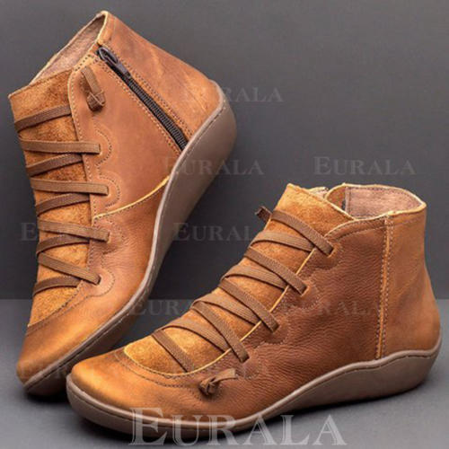 Kvinnor PU Låg Klack Stövlar med Bandage skor