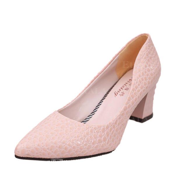 Pentru Femei Imitaţie de Piele Toc gros Încălţăminte cu Toc Înalt Închis la vârf pantofi