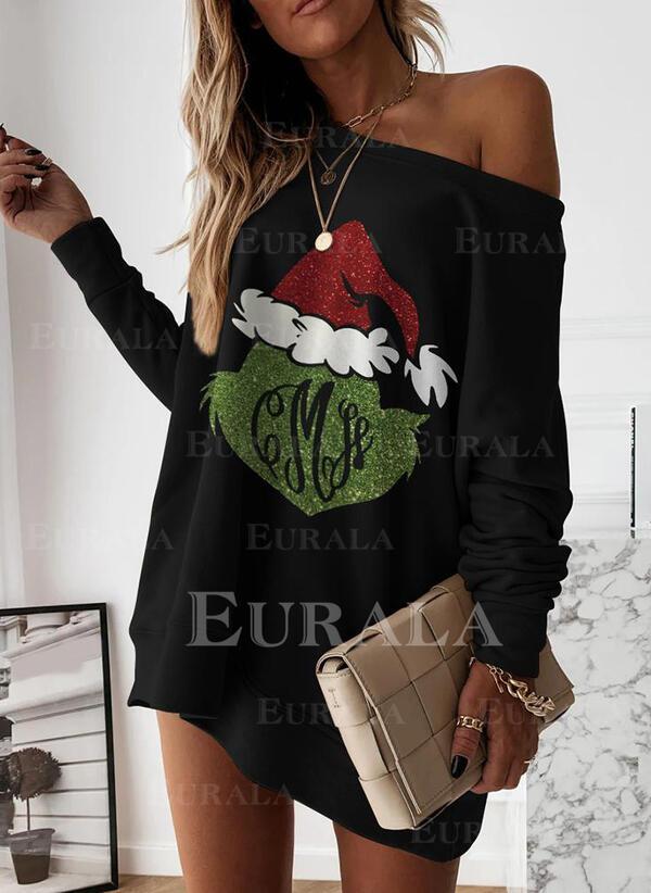 Print Long Sleeves Shift Above Knee Christmas/Casual Tunic Dresses