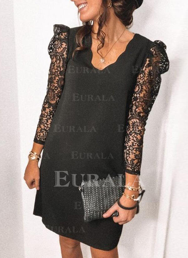 Lace/Solid 3/4 Sleeves/Puff Sleeves Shift Above Knee Little Black/Elegant Tunic Dresses