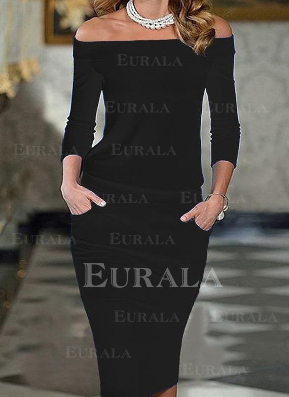 Jednobarevné 3/4 rukávy Přiléhavé Délka ke kolenům Malé černé/Elegantní Creion Rochii