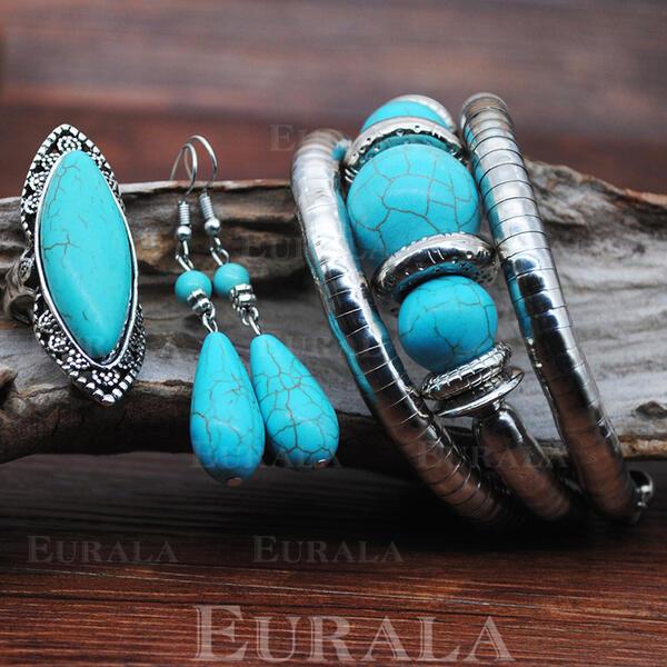exotic Boho Aliaj Turcoaz cu Bijuterie Seturi de bijuterii cercei Bratari Inele (Set of 3)